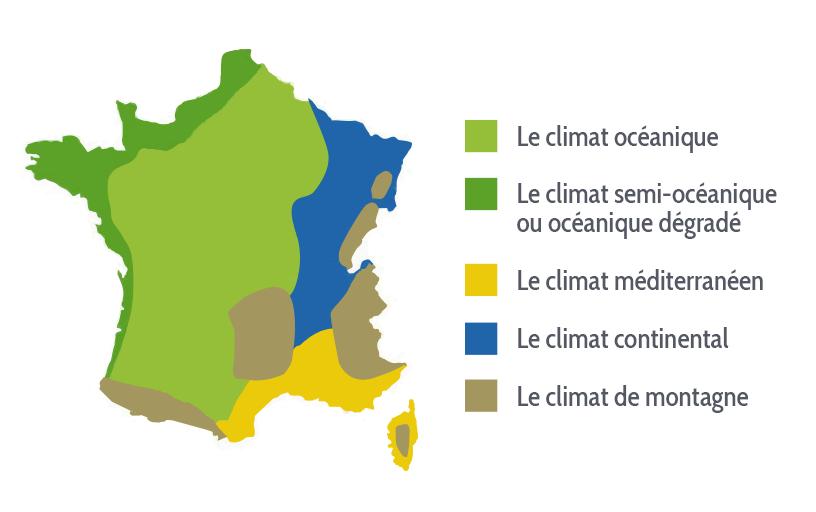 Carte des régions climatiques de France